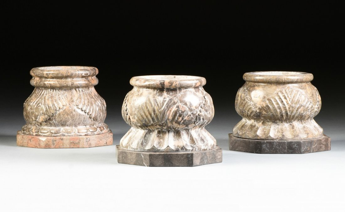 A GROUP OF THREE ROMANESQUE STYLE VARIEGATED MARBLE - 2
