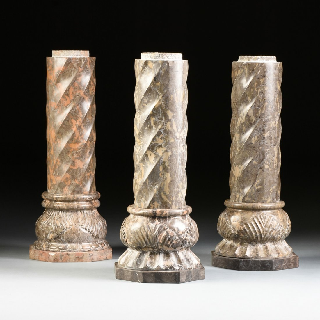 A GROUP OF THREE ROMANESQUE STYLE VARIEGATED MARBLE - 3