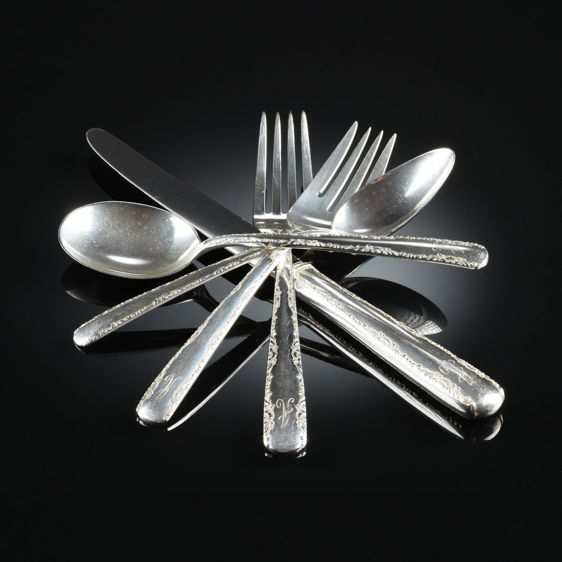 A FIFTY-NINE PIECE GORHAM STERLING SILVER FLATWARE