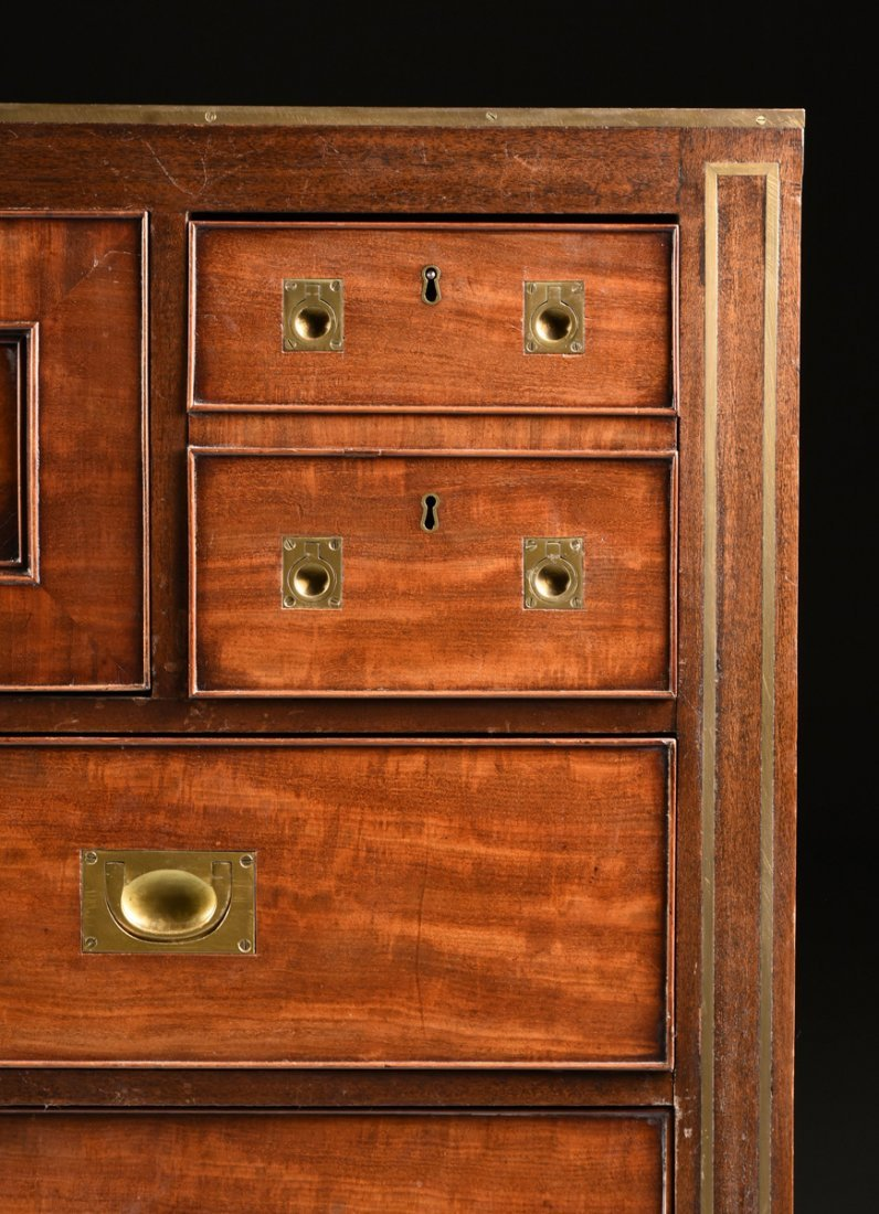 A CAMPAIGN STYLE BRASS MOUNTED MAHOGANY SECRETARY CHEST - 2