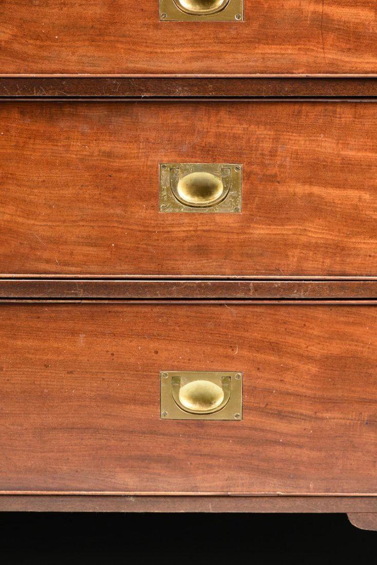 A CAMPAIGN STYLE BRASS MOUNTED MAHOGANY SECRETARY CHEST - 4