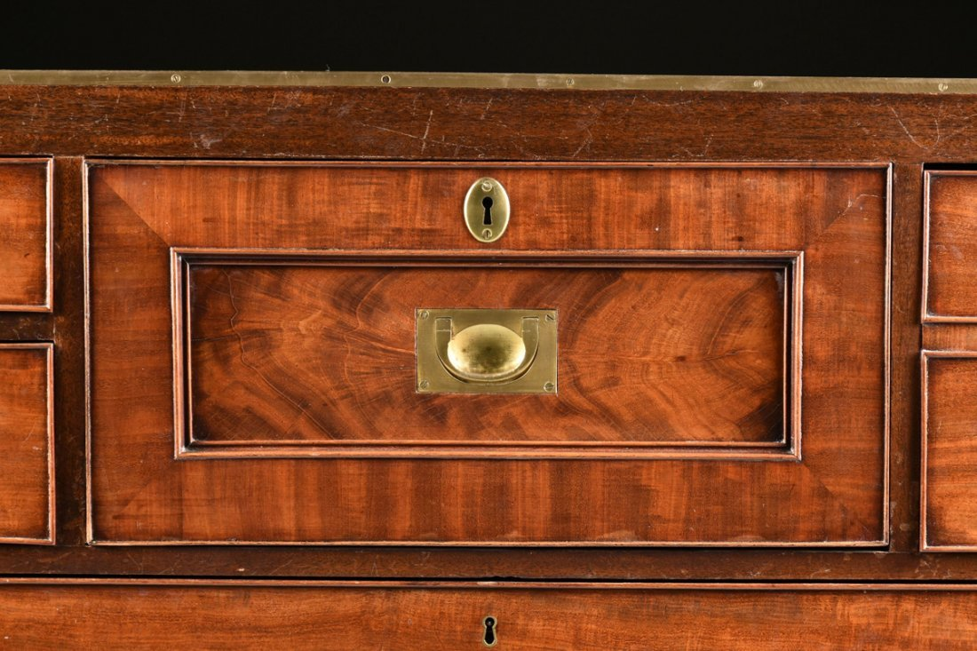 A CAMPAIGN STYLE BRASS MOUNTED MAHOGANY SECRETARY CHEST - 5