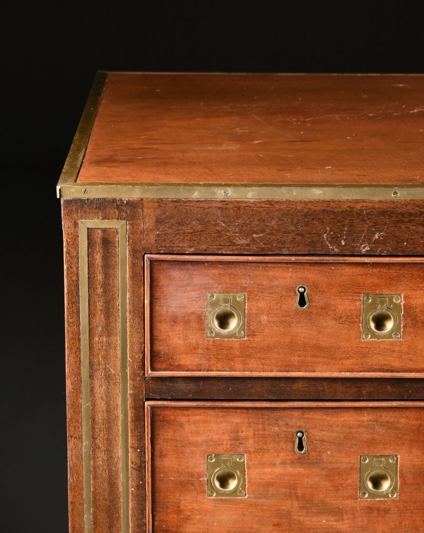 A CAMPAIGN STYLE BRASS MOUNTED MAHOGANY SECRETARY CHEST - 6