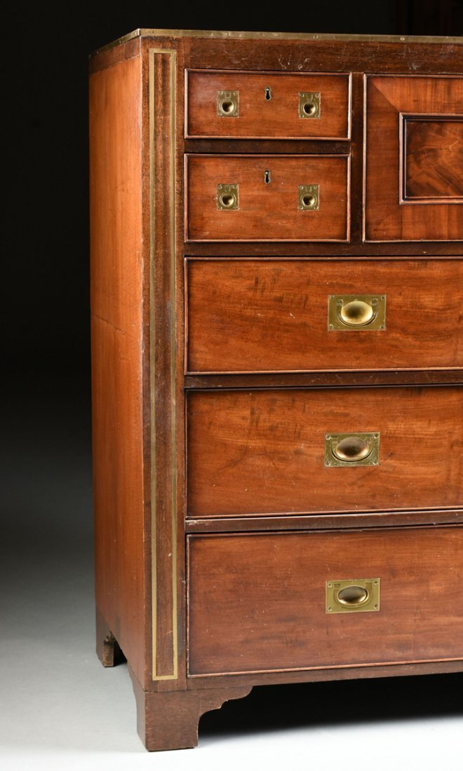 A CAMPAIGN STYLE BRASS MOUNTED MAHOGANY SECRETARY CHEST - 7