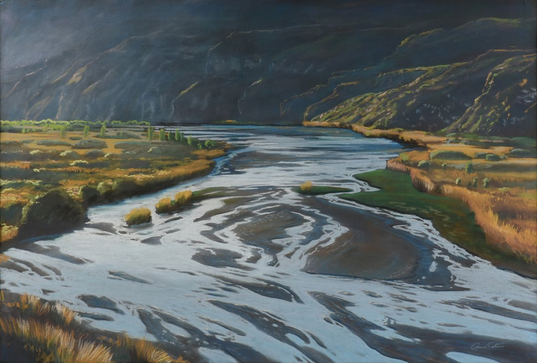 """AMERICAN SCHOOL (20th Century) A PAINTING, """"River"""