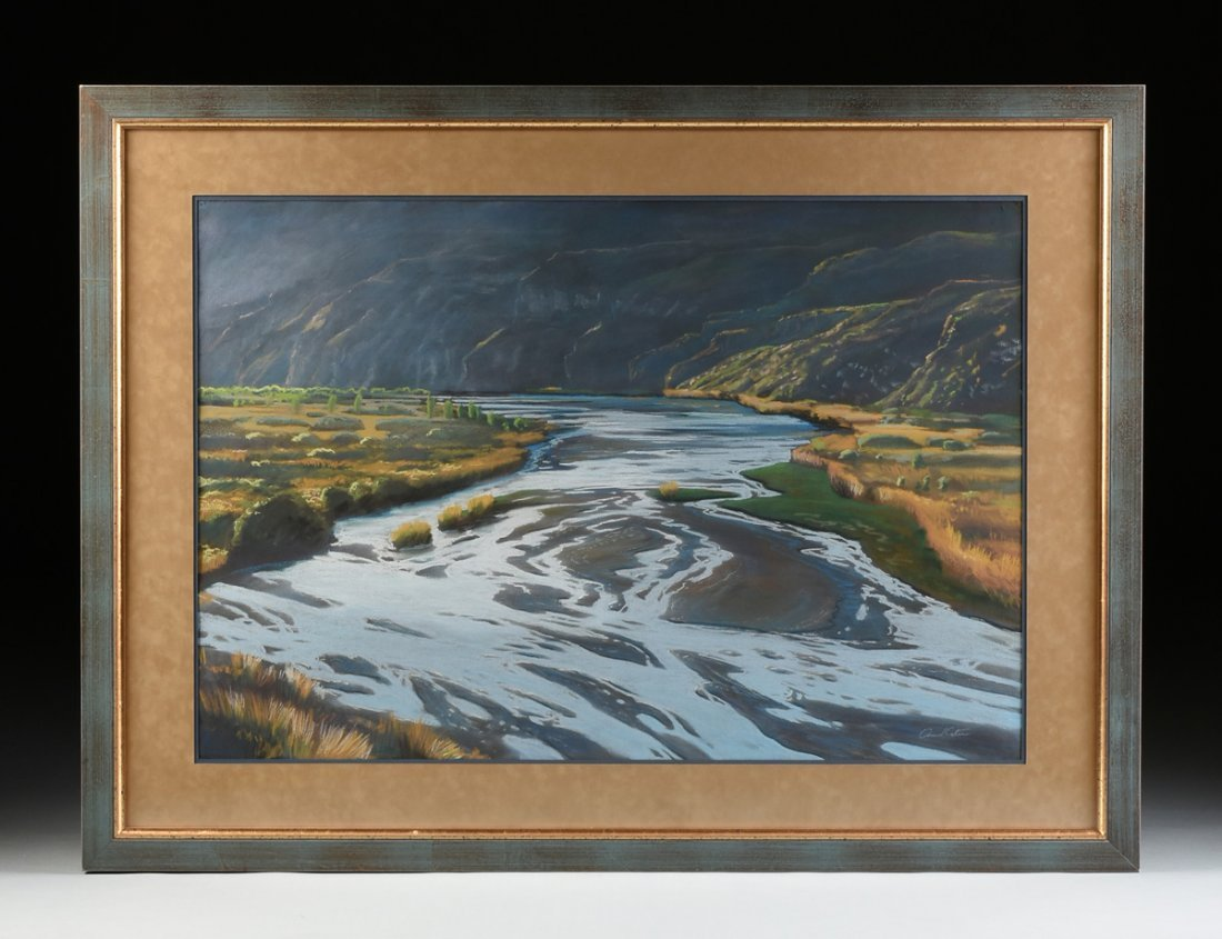 """AMERICAN SCHOOL (20th Century) A PAINTING, """"River - 2"""