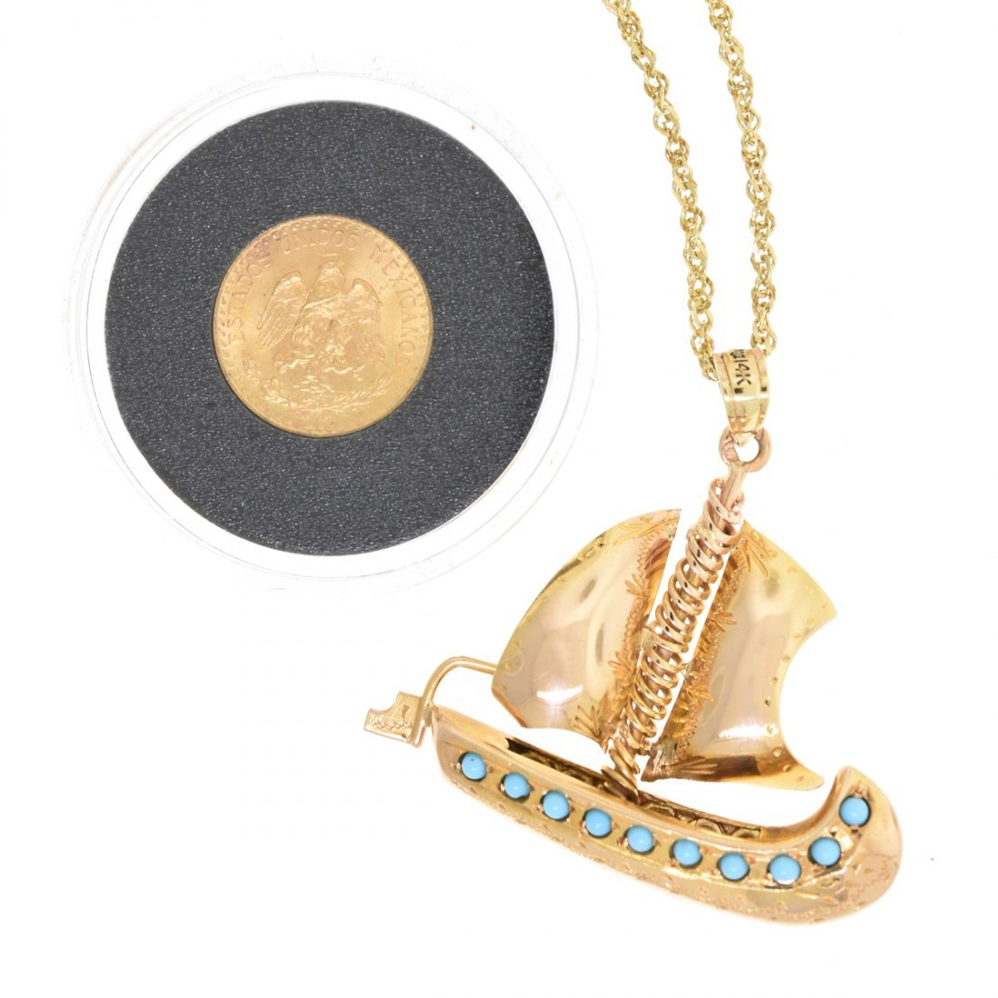 A 14K YELLOW GOLD SAILBOAT LADY'S PENDANT AND A DOS