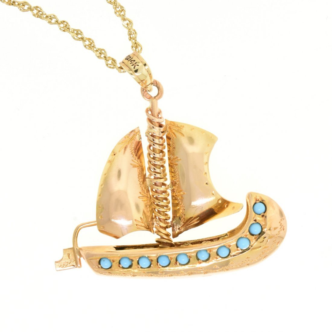 A 14K YELLOW GOLD SAILBOAT LADY'S PENDANT AND A DOS - 4