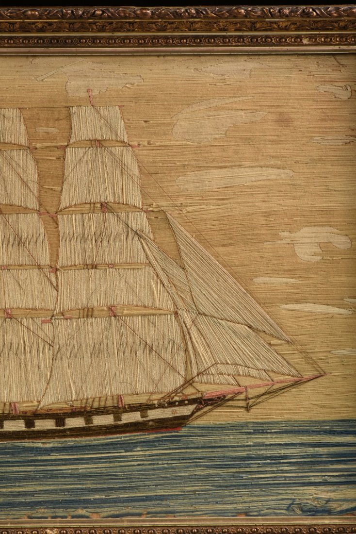AN ANTIQUE BRITISH NEEDLEWORK PANEL OF A FOUR MAST - 5
