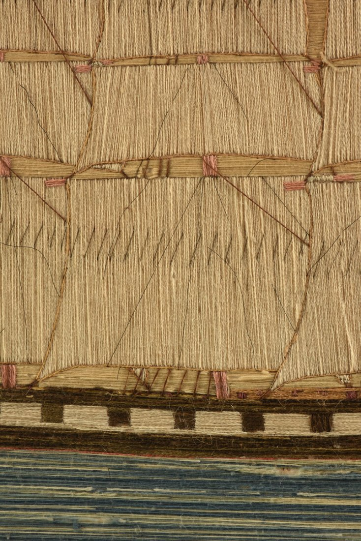 AN ANTIQUE BRITISH NEEDLEWORK PANEL OF A FOUR MAST - 9
