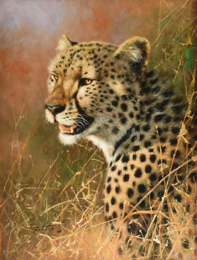 "ERIC FORLEE (American b. 1949) A PAINTING, ""Cheetah"