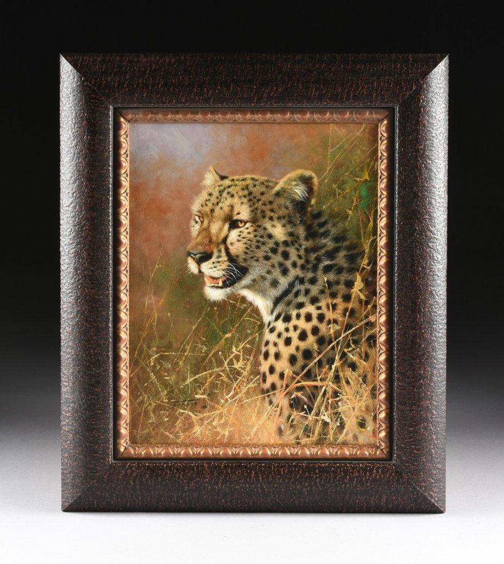 "ERIC FORLEE (American b. 1949) A PAINTING, ""Cheetah - 2"