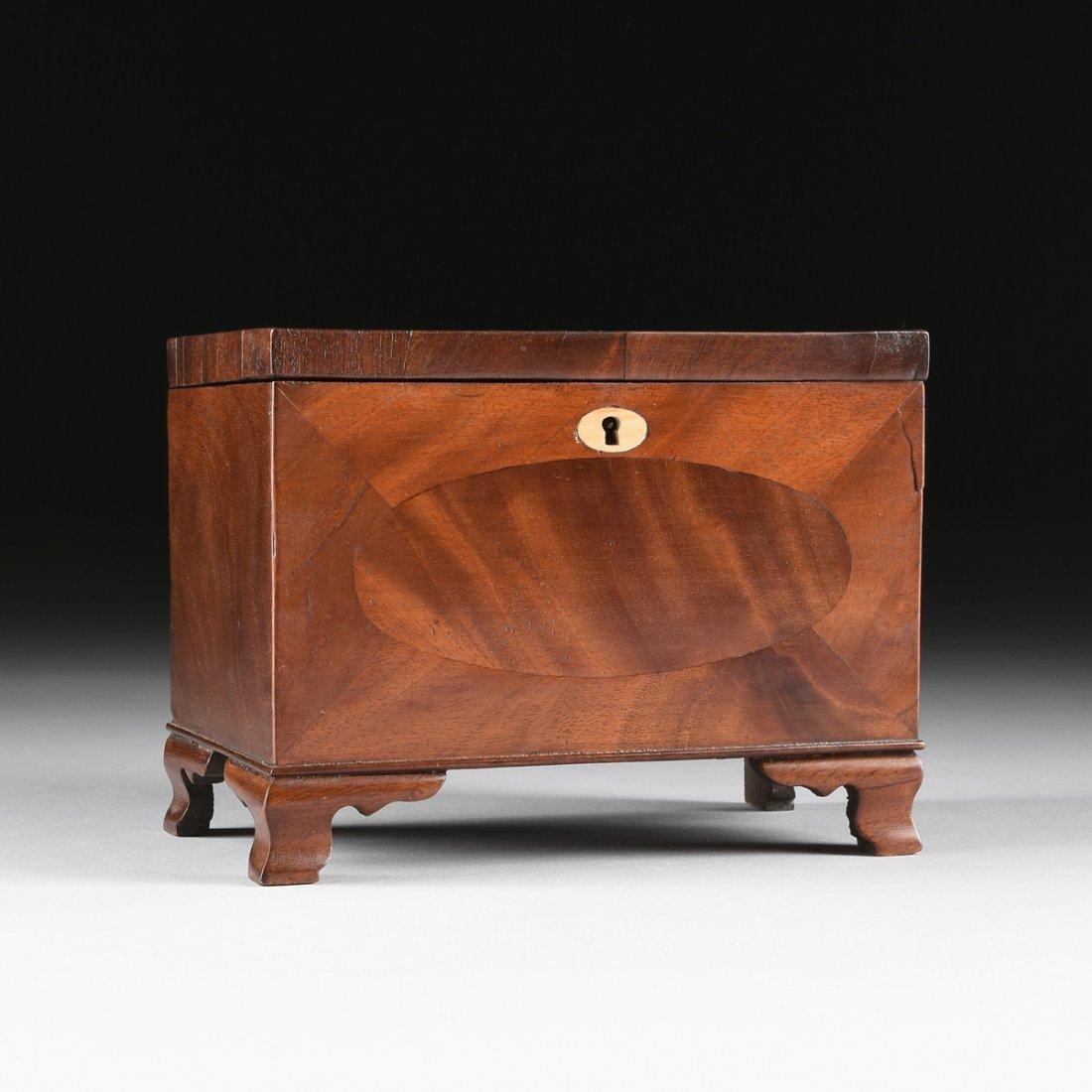 A FEDERAL MAHOGANY PARQUETRY KEEPSAKE BOX, DATED 1824,