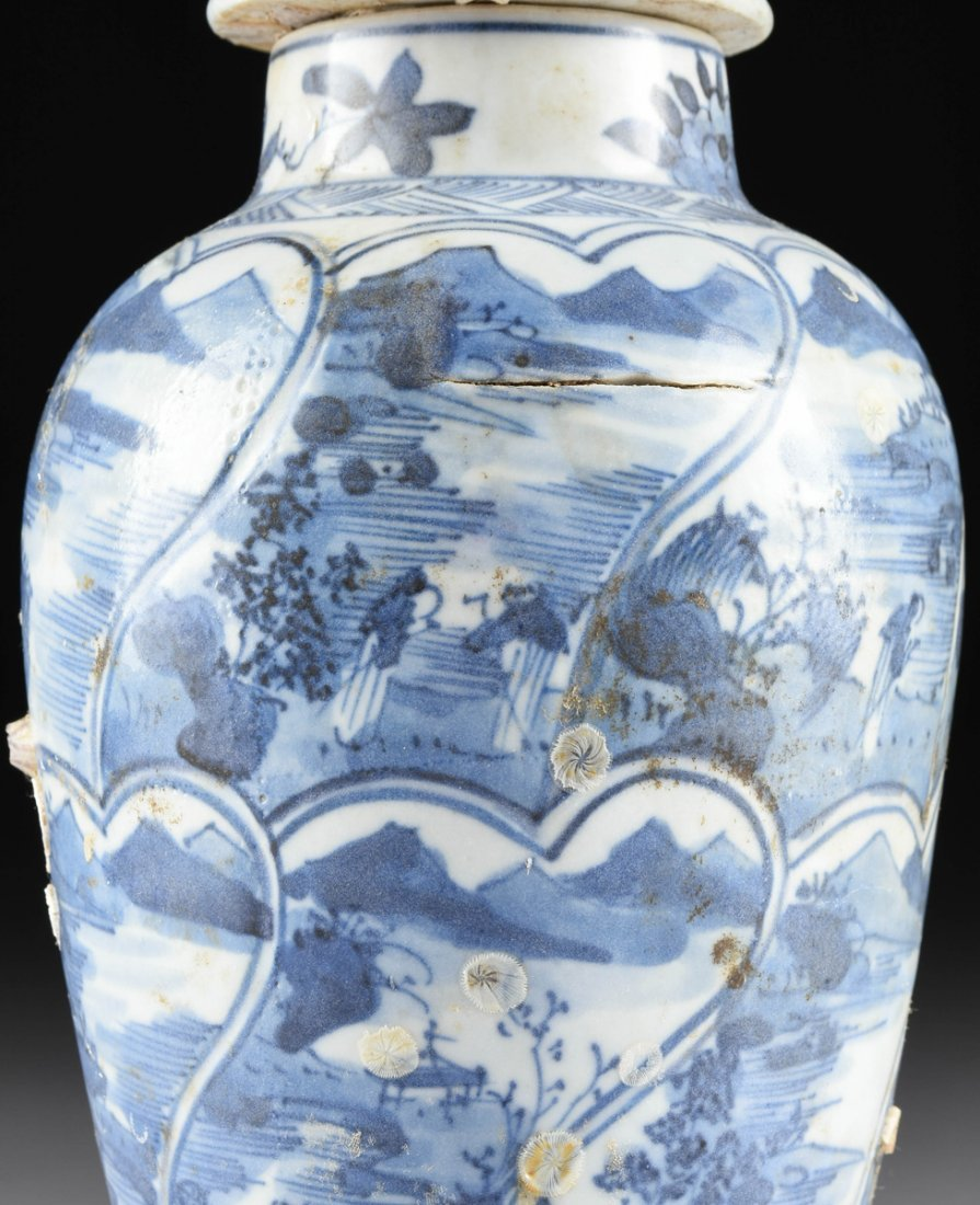 A CHINESE EXPORT BLUE AND WHITE LIDDED PORCELAIN VASE, - 3