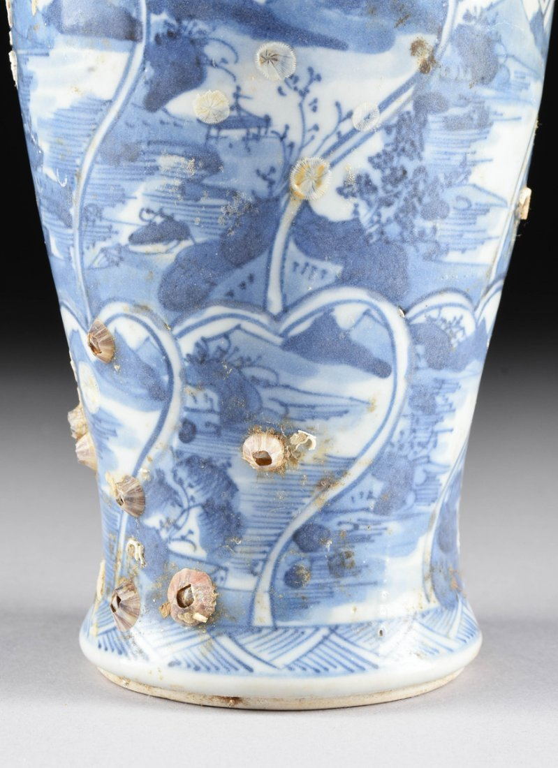 A CHINESE EXPORT BLUE AND WHITE LIDDED PORCELAIN VASE, - 4