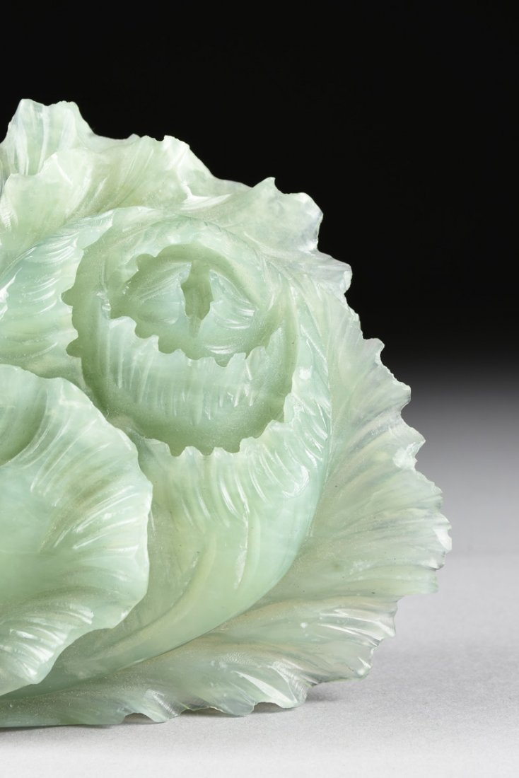 A CHINESE CARVED CELADON JADE OF A BLOSSOM, MODERN, - 2