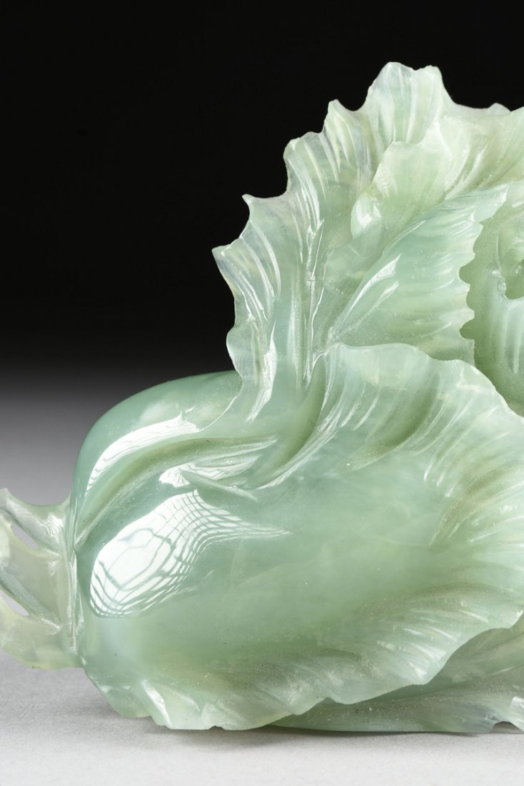 A CHINESE CARVED CELADON JADE OF A BLOSSOM, MODERN, - 3