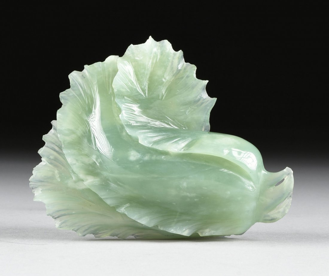 A CHINESE CARVED CELADON JADE OF A BLOSSOM, MODERN, - 4