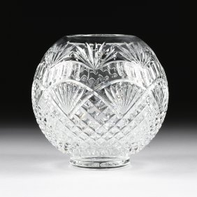 A WATERFORD CUT CRYSTAL ROSE BOWL, CECILY PATTERN,