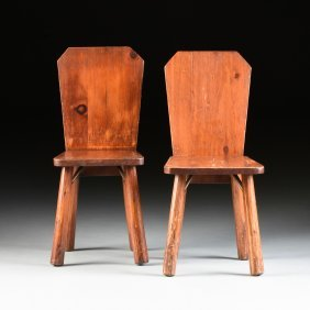 A PAIR OF VINTAGE RUSTIC CHILD'S CARVED PINE CHAIRS,