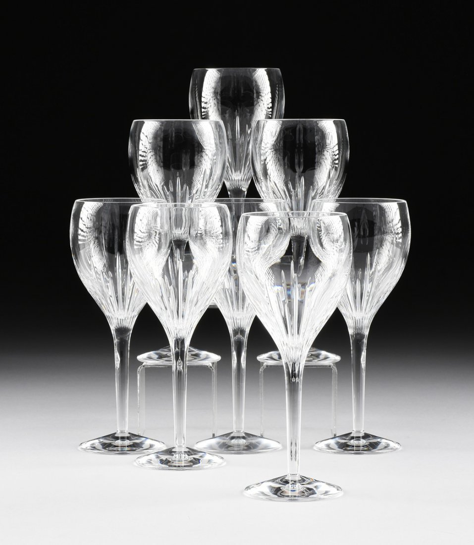 A SET OF EIGHT WATERFORD CUT CRYSTAL RED WINE STEMWARE,