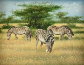 """ROY GRANT (American 20th Century) A PAINTING, """"Zebras,"""""""