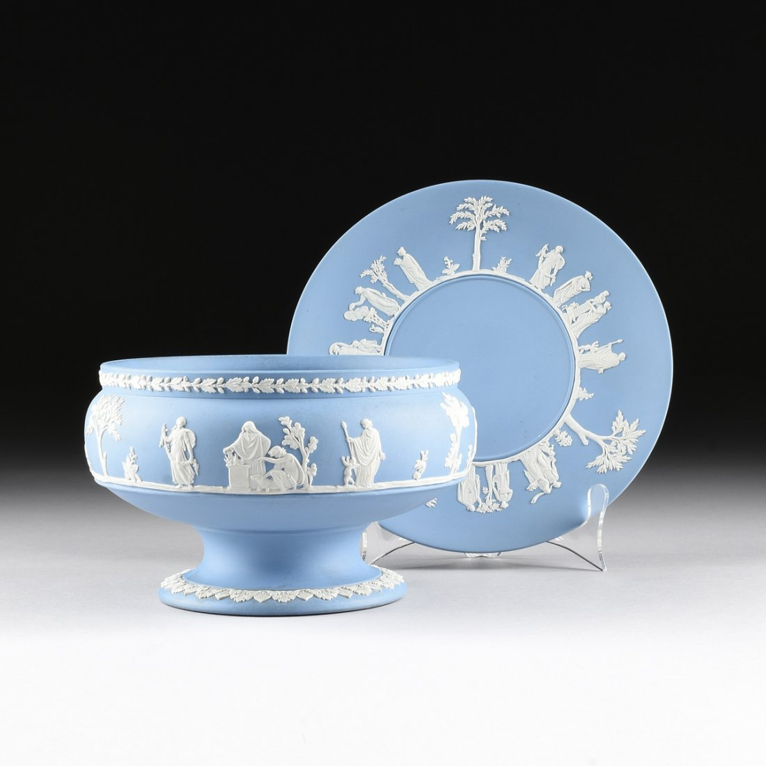 TWO WEDGWOOD BLUE AND WHITE JASPER WARES, IMPRESSED
