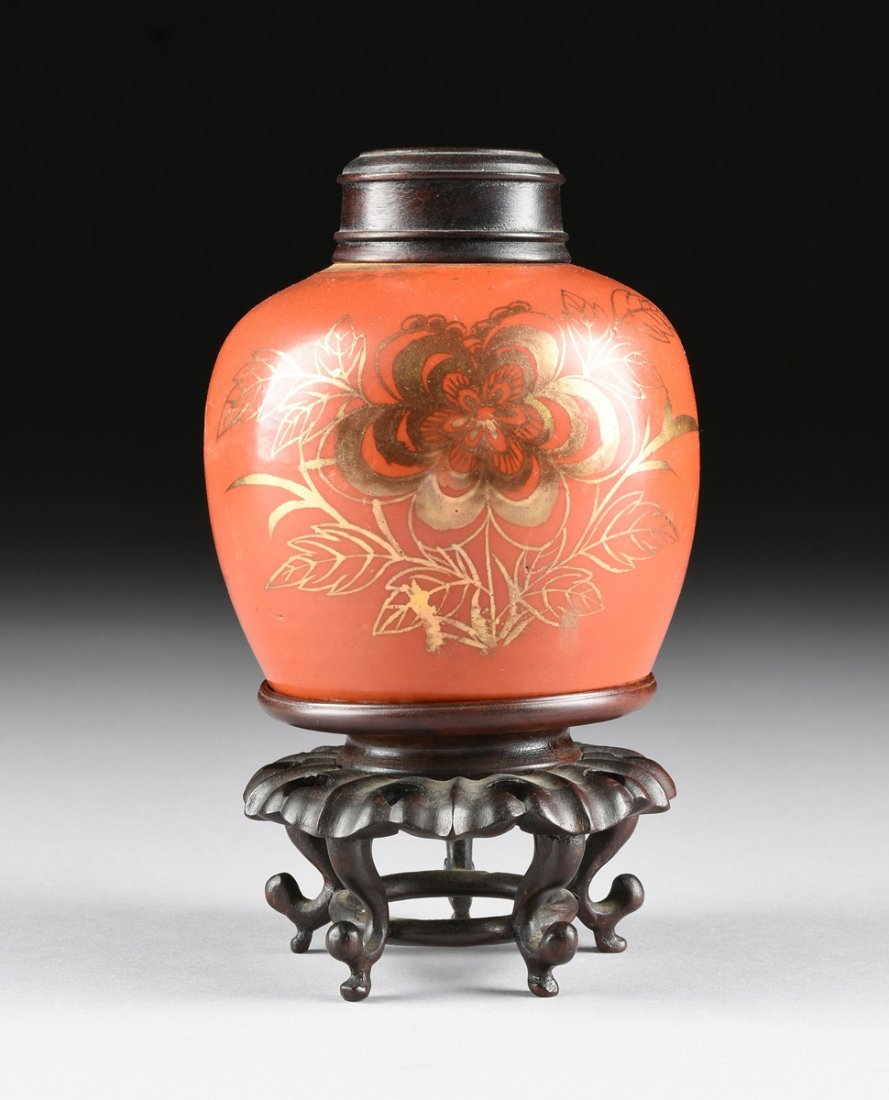 AN ANTIQUE CHINESE PARCEL GILT CORAL RED GLAZED