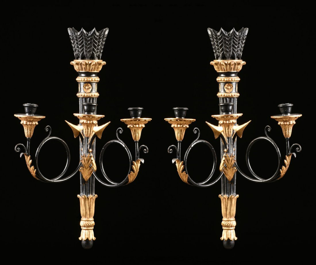 A PAIR OF ITALIAN NEOCLASSICAL STYLE PARCEL GILT AND