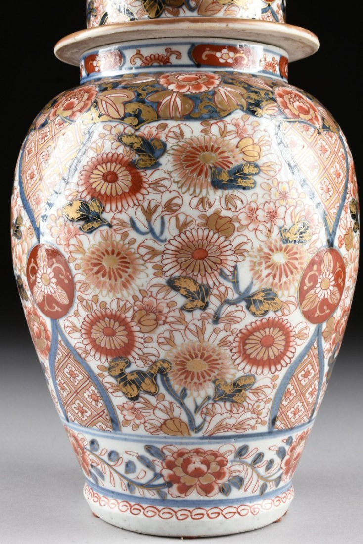 A MATCHED PAIR OF CHINESE IMARI PORCELAIN LIDDED JARS, - 4