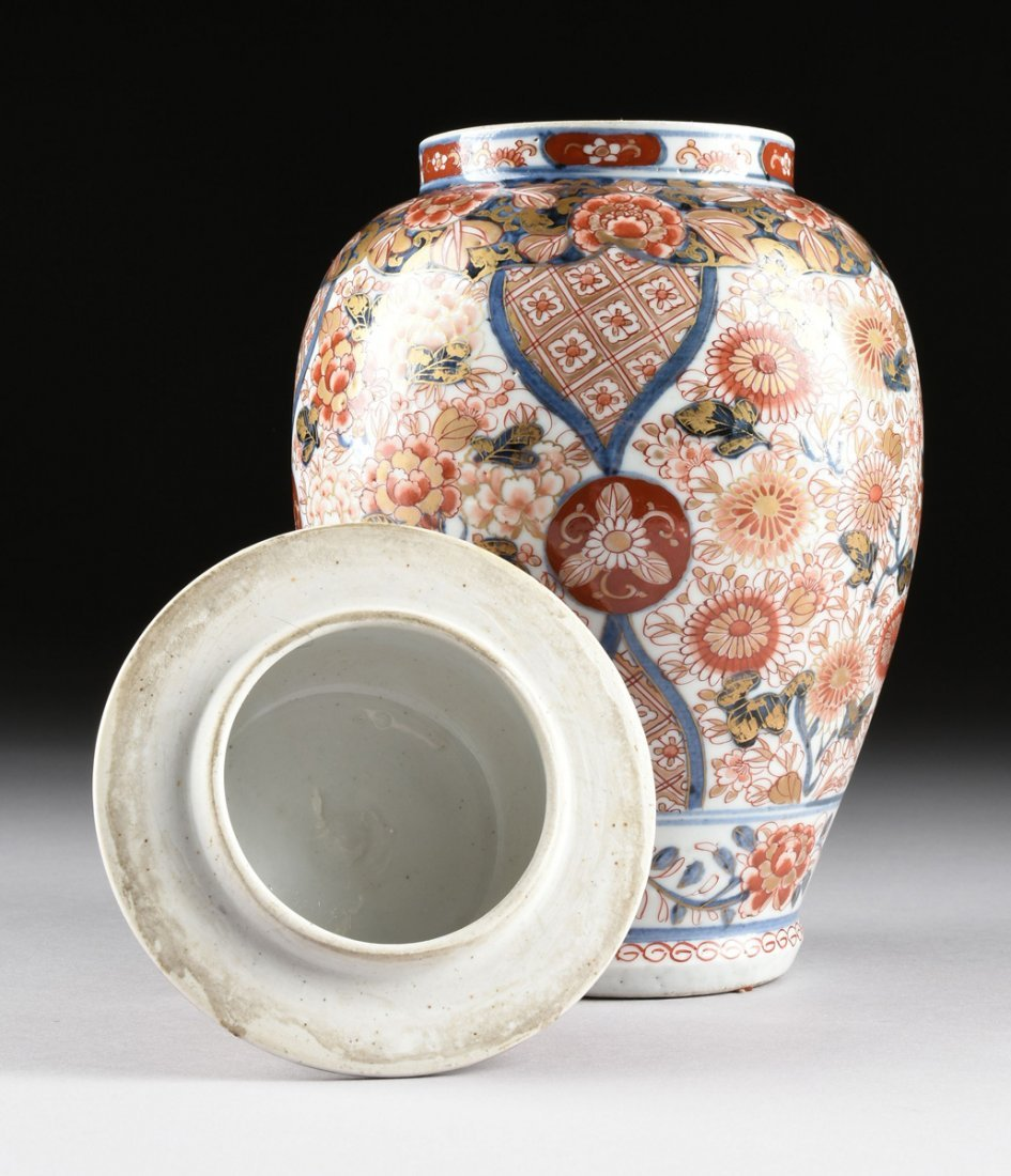 A MATCHED PAIR OF CHINESE IMARI PORCELAIN LIDDED JARS, - 6
