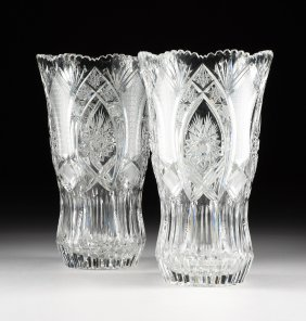 A PAIR OF LARGE CUT CRYSTAL GLASS VASES, MODERN,