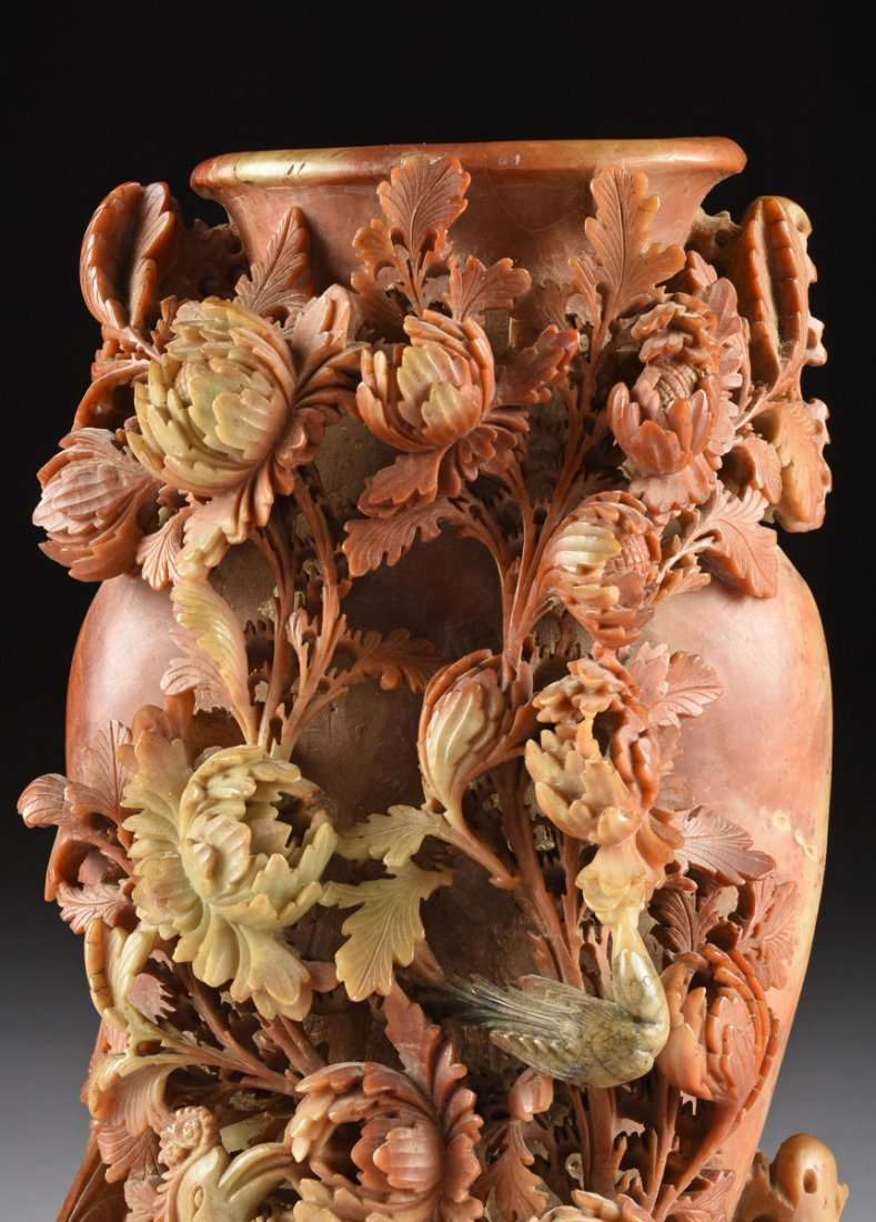 A LARGE CHINESE CHRYSANTHEMUM AND PHOENIX CARVED - 2