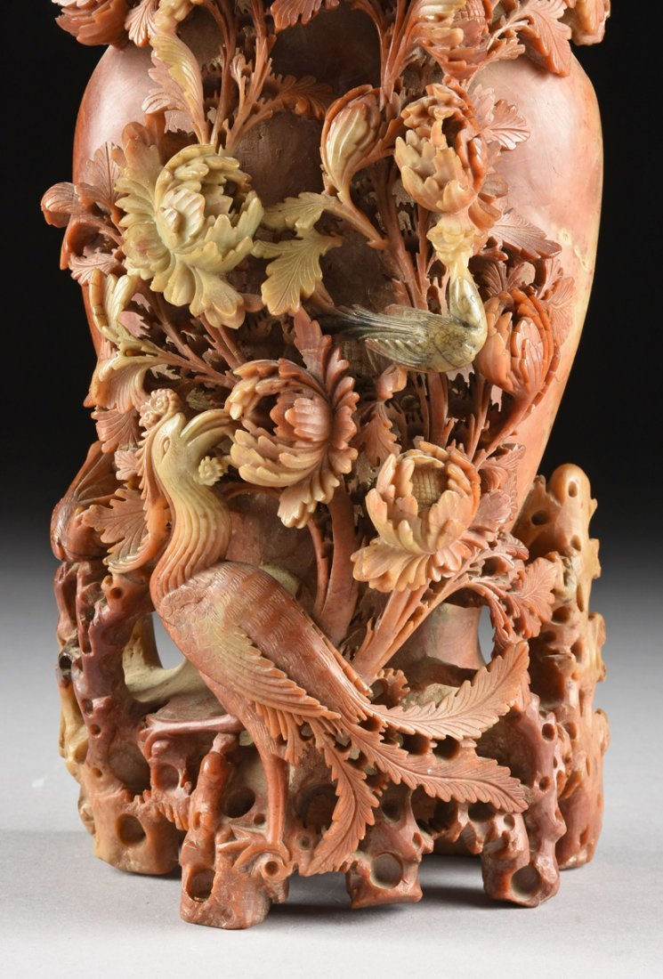 A LARGE CHINESE CHRYSANTHEMUM AND PHOENIX CARVED - 3