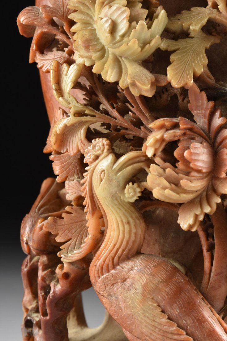 A LARGE CHINESE CHRYSANTHEMUM AND PHOENIX CARVED - 6