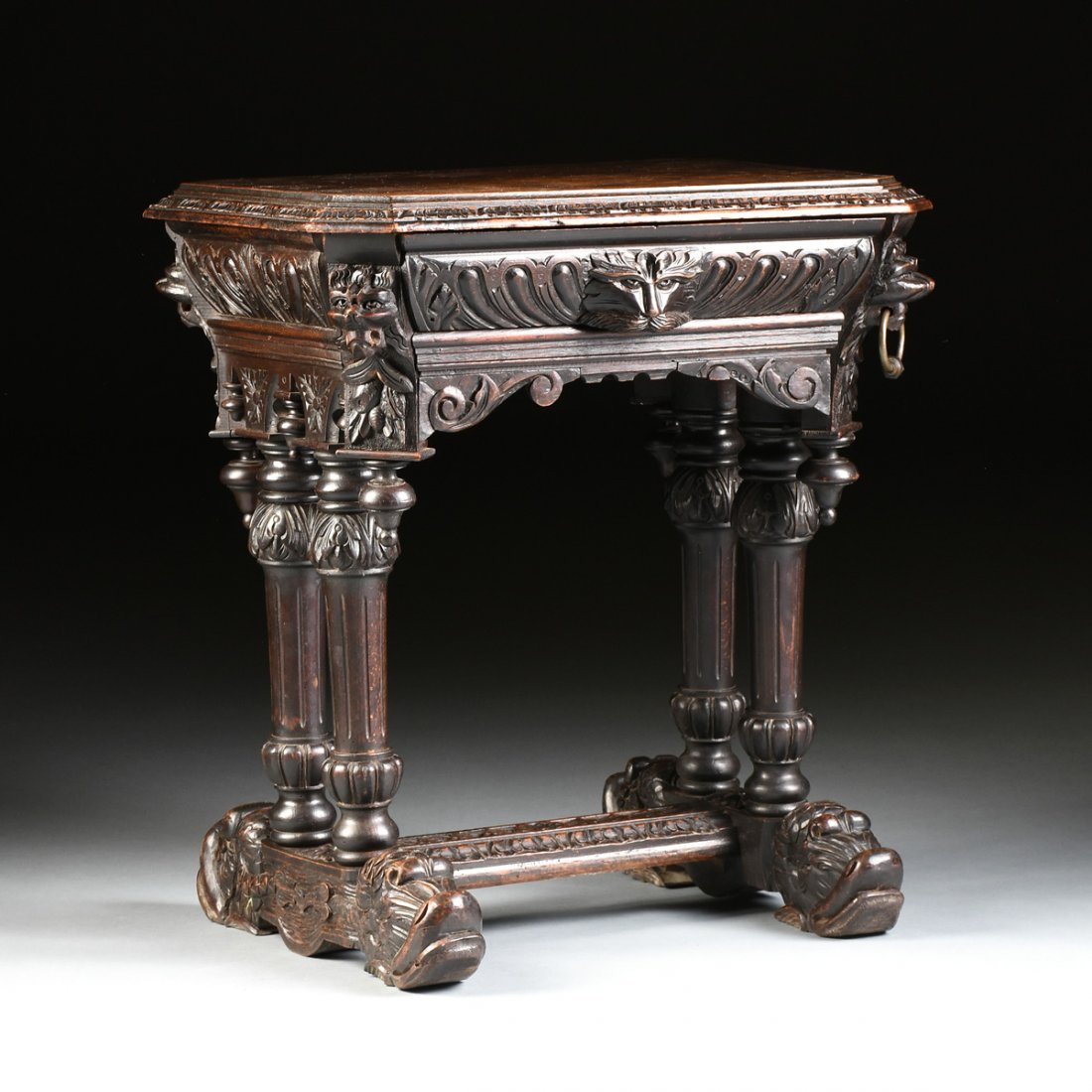 A RENAISSANCE REVIVAL CARVED WOOD SIDE TABLE, POSSIBLY