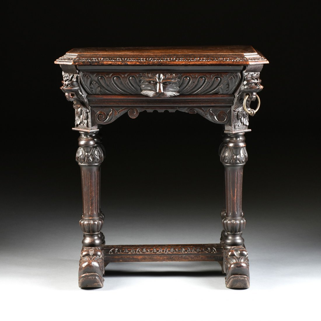 A RENAISSANCE REVIVAL CARVED WOOD SIDE TABLE, POSSIBLY - 2