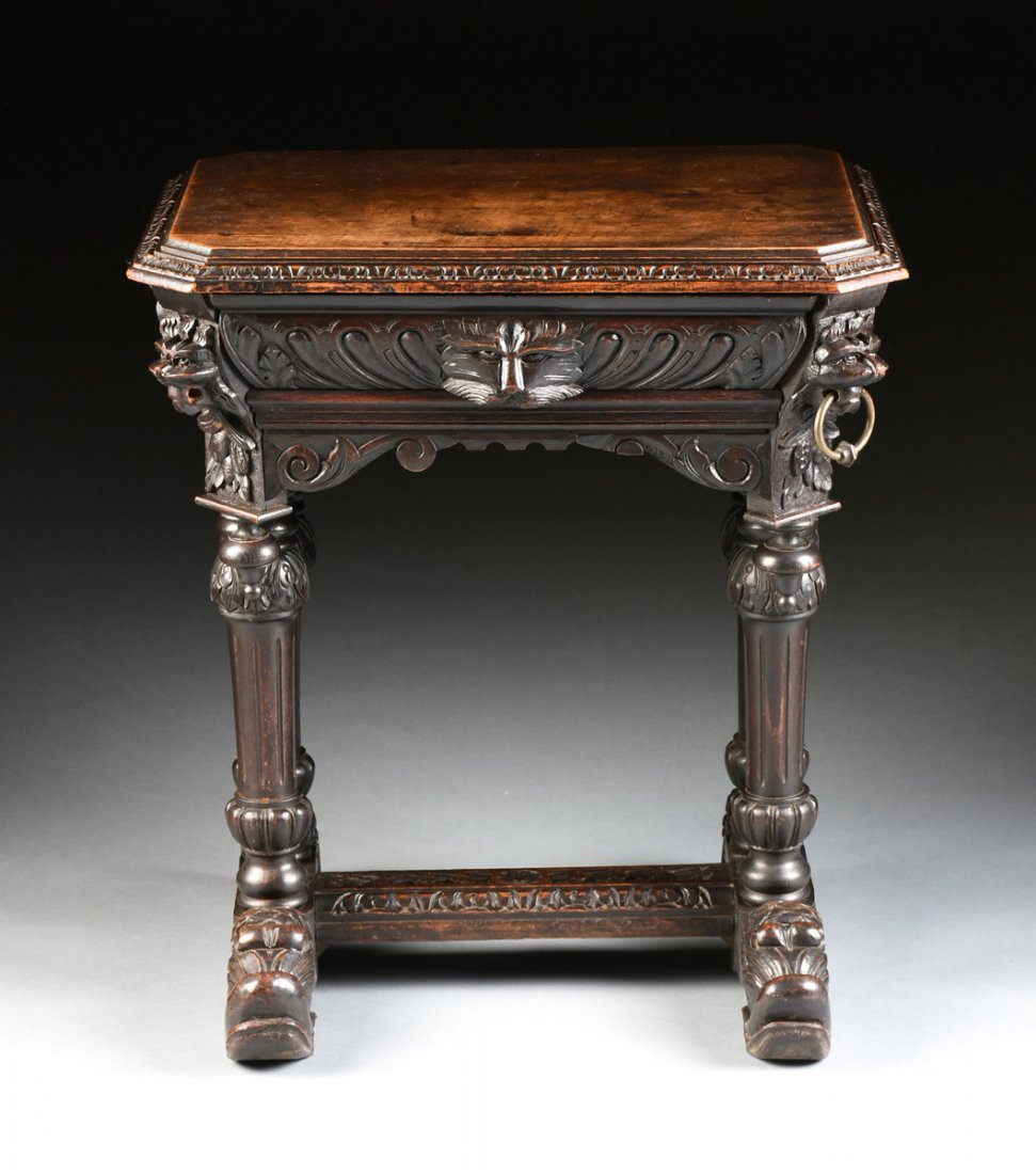 A RENAISSANCE REVIVAL CARVED WOOD SIDE TABLE, POSSIBLY - 7