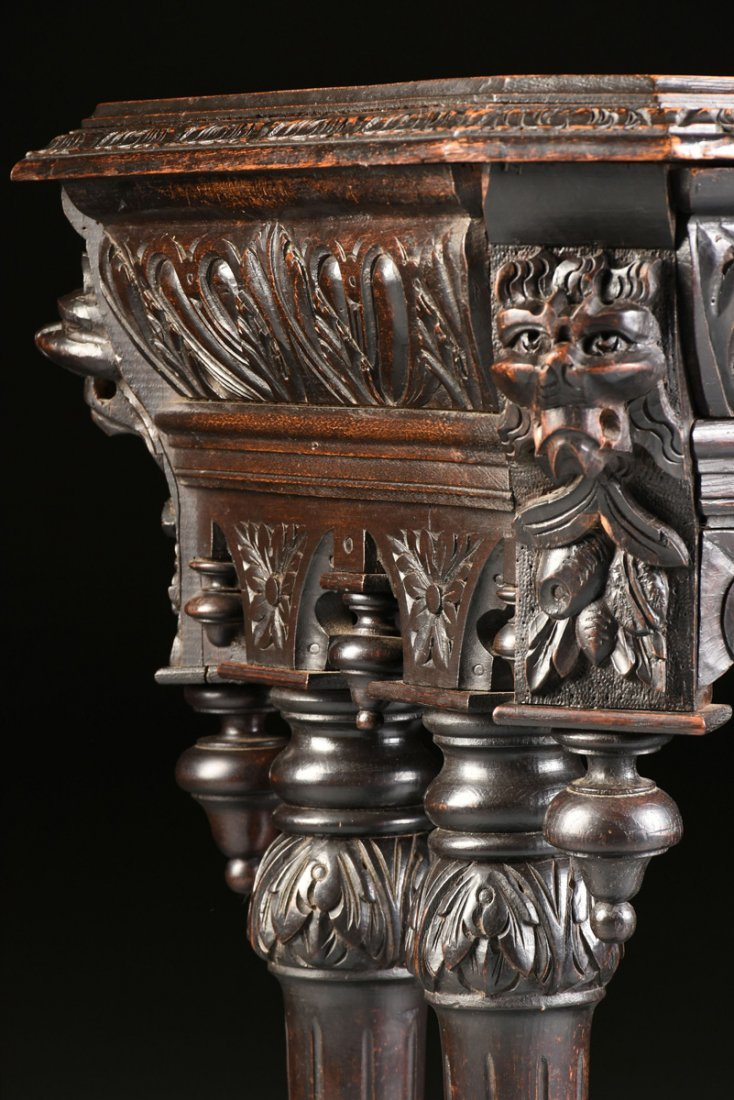 A RENAISSANCE REVIVAL CARVED WOOD SIDE TABLE, POSSIBLY - 9