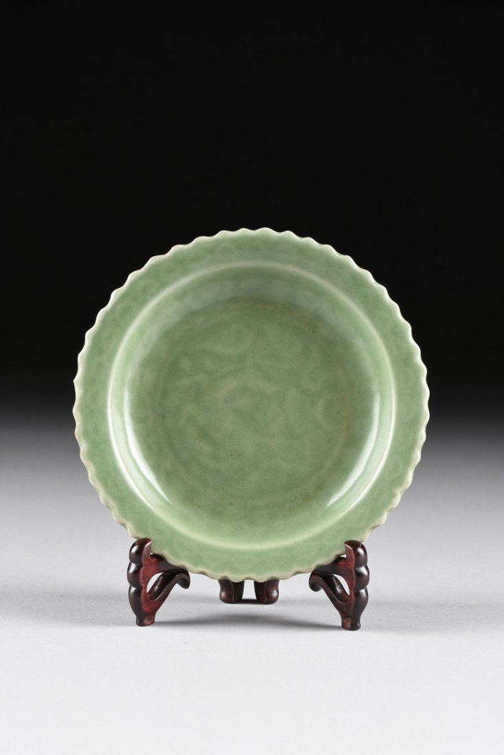 A CHINESE SMALL BARB RIMMED CELADON DISH, TOGETHER WITH - 2