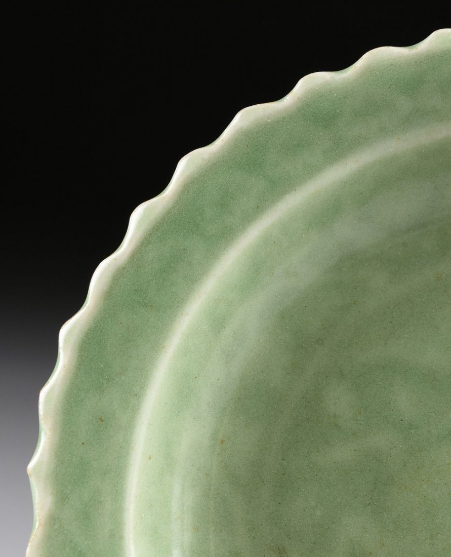A CHINESE SMALL BARB RIMMED CELADON DISH, TOGETHER WITH - 3