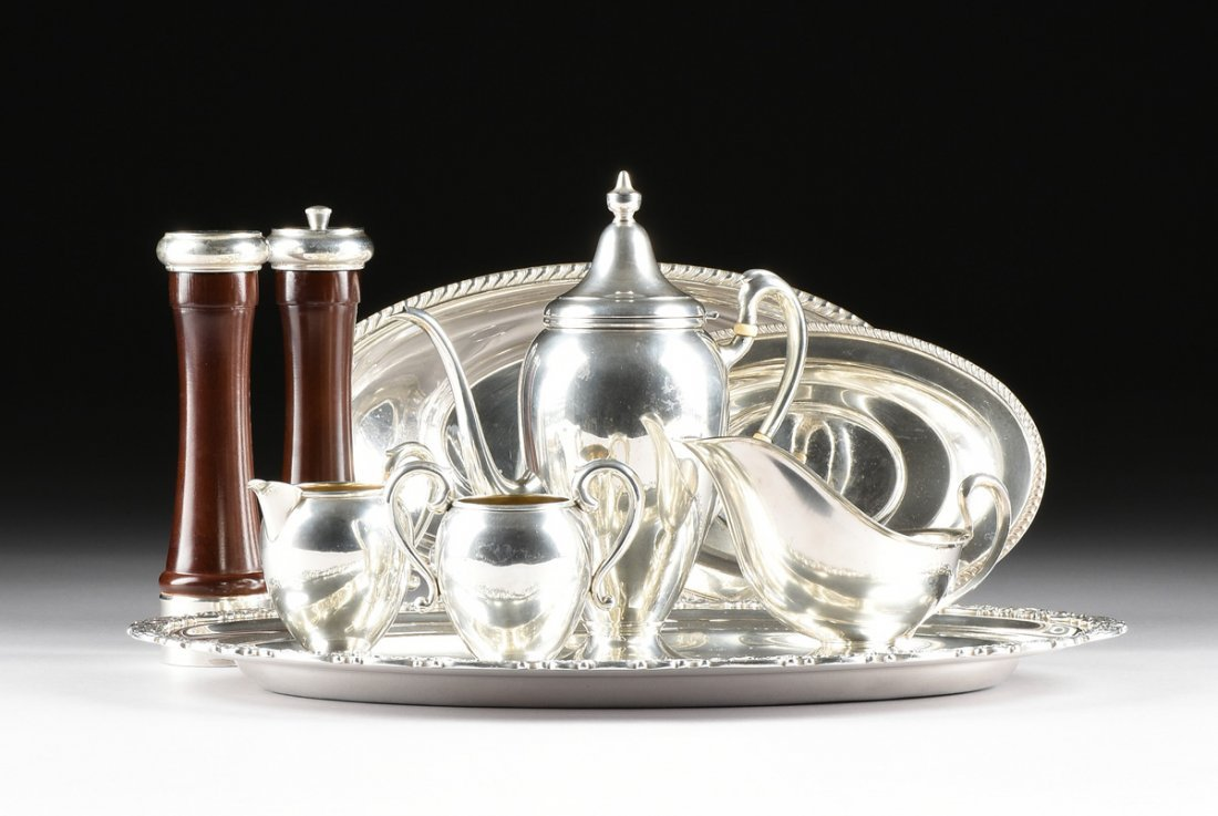 A NINE PIECE MISCELLANEOUS GROUP OF STERLING AND SILVER