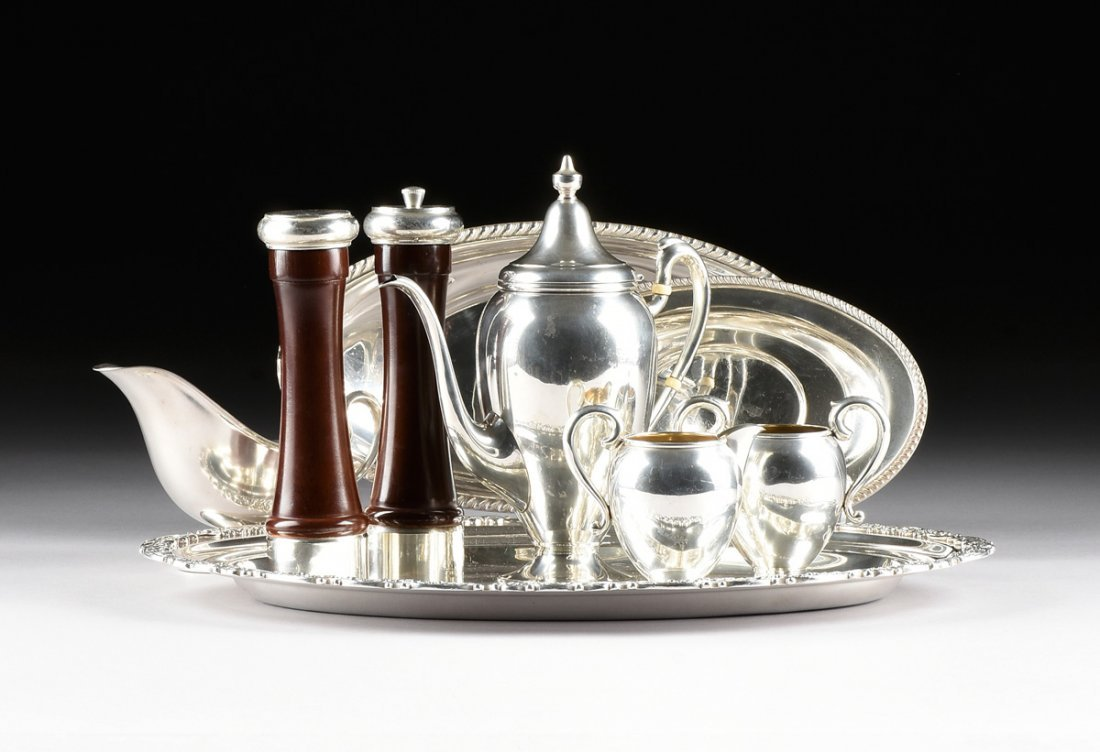 A NINE PIECE MISCELLANEOUS GROUP OF STERLING AND SILVER - 2