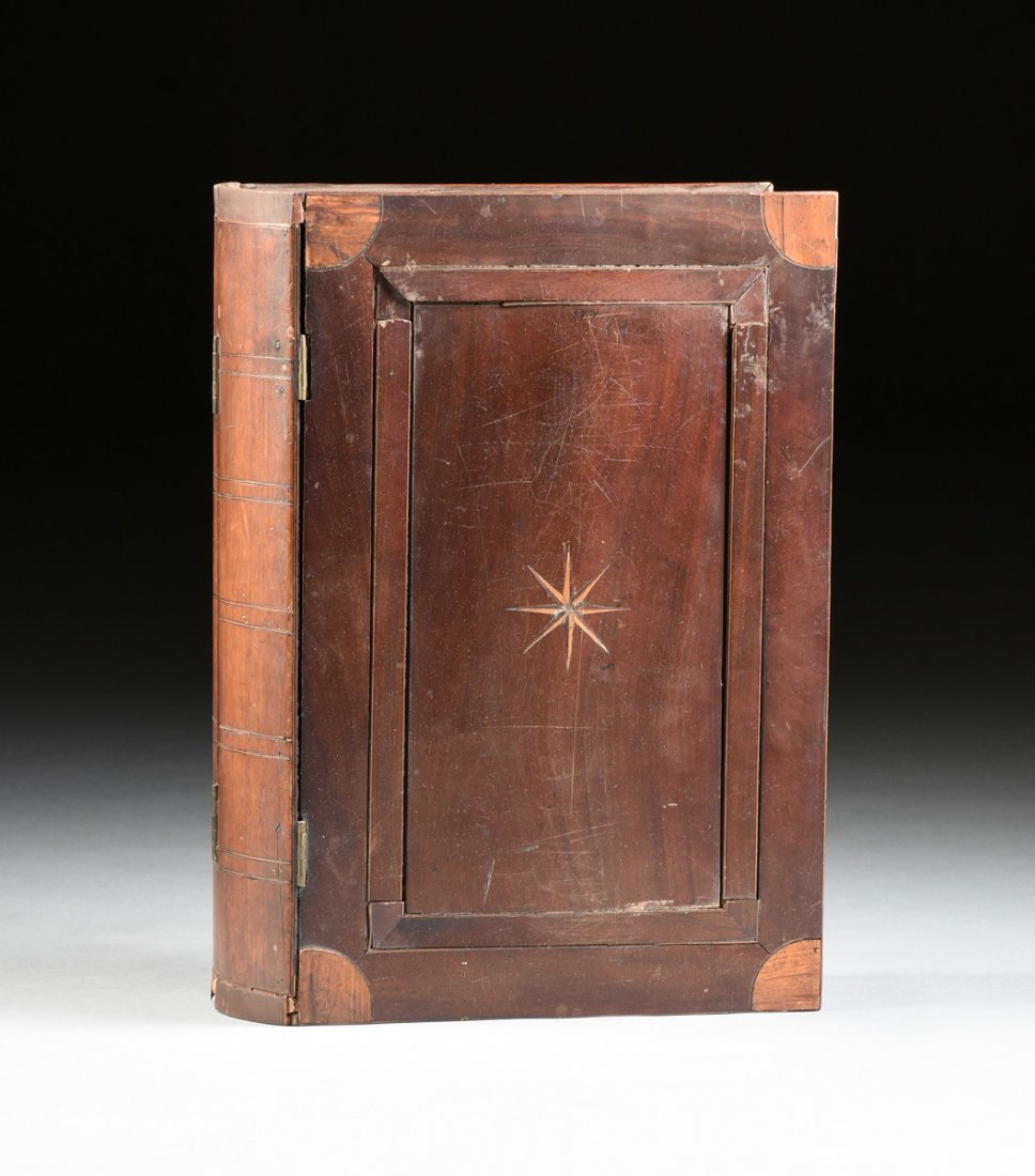 A LARGE FEDERAL PERIOD PARQUETRY INLAID MAHOGANY BOOK