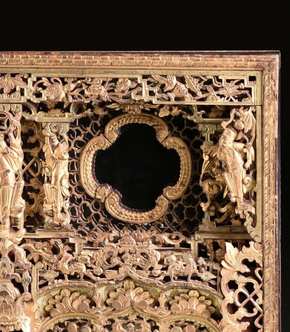AN UNUSUAL CHINESE ORNATELY CARVED GILTWOOD MIRROR, - 5