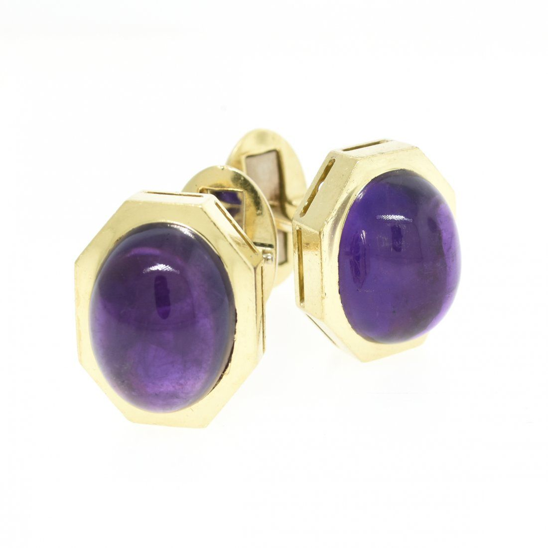 A PAIR OF 18K YELLOW GOLD AND AMETHYST HENRY DUNAY