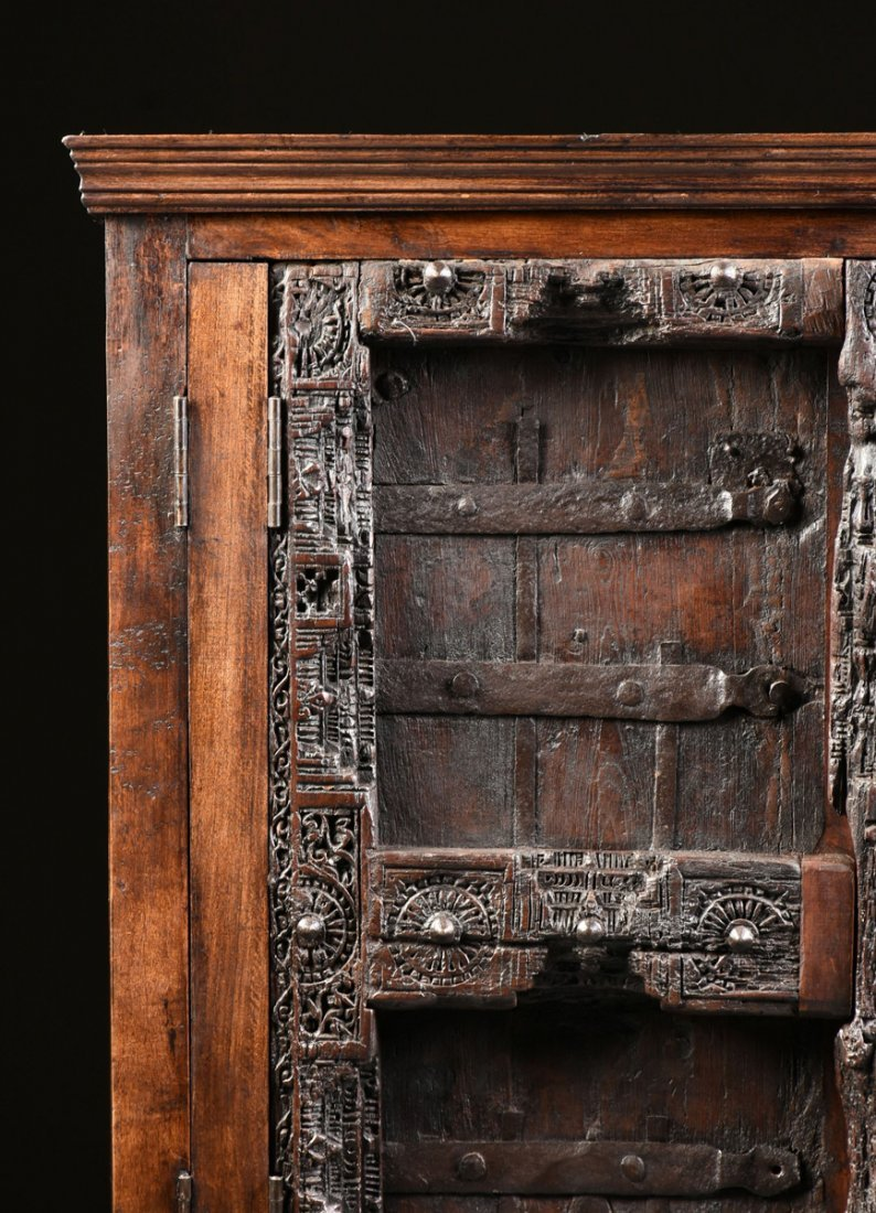 A SPANISH COLONIAL STYLE CARVED WOOD ARMOIRE, 19TH - 2