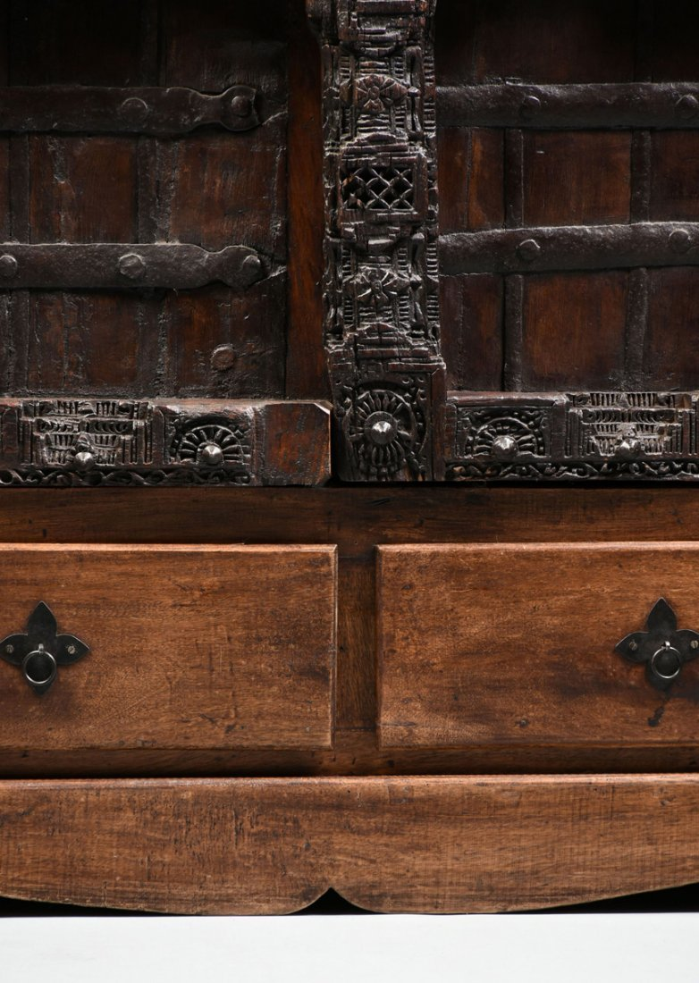 A SPANISH COLONIAL STYLE CARVED WOOD ARMOIRE, 19TH - 5