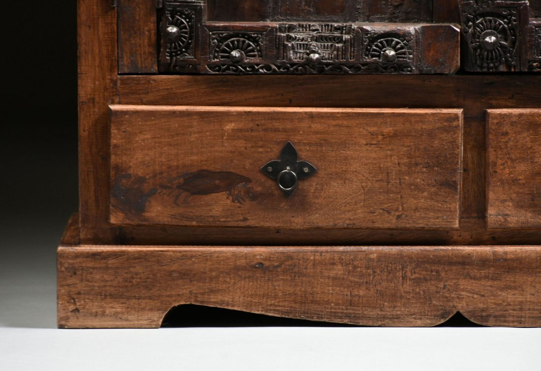A SPANISH COLONIAL STYLE CARVED WOOD ARMOIRE, 19TH - 6