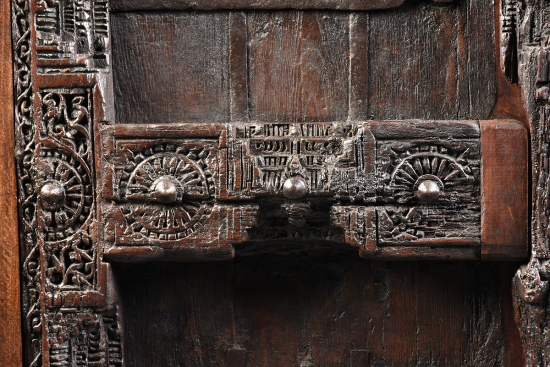 A SPANISH COLONIAL STYLE CARVED WOOD ARMOIRE, 19TH - 8